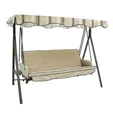 Garden Treasures 3 Seat Steel Traditional Cushion Hammock Swing