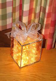 Glass Present Box Lights Stained Glass Suncatcher Three Dimension Gift Box Holiday
