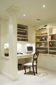 office in kitchen. like this ideal near next to the kitchen as a little desk and shelfs where office in k