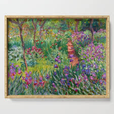 claude monet the iris garden at giverny 1899 1900 serving tray