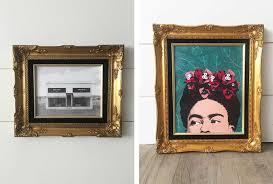gold vintage frame holds art