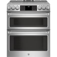 ge profile 30 in 6 6 cu ft double oven electric range with self cleaning convection oven lower oven in stainless steel pb980sjss the home depot