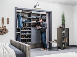 with bold gray paint sharp lines and a light gray d this closet is