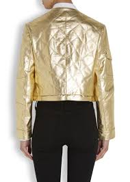 Boutique moschino Gold Quilted Leather Jacket in Metallic | Lyst & Gallery Adamdwight.com