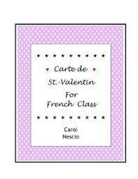 Carte De St Valentin Carte De St Valentin For French Class By Carol Nescio Tpt
