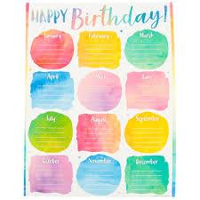 Teacher Birthday Chart Teacher Created Resources Watercolor Customizable Happy