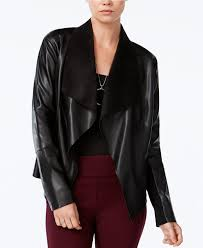 macy s faux leather jacket