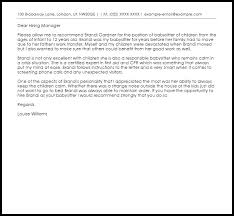 Reference Letter For Babysitter Primary Concept Recommendation