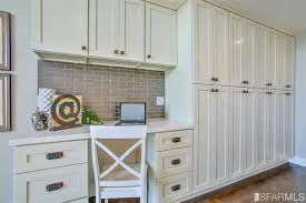 subway home office. Traditional Home Office With Built-in Bookshelf, Shaker Style Cabinet, Ice Gray Glass Subway L