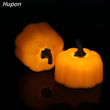 Battery Operated Halloween Mini Lights Us 4 69 6 Off 6pcs Mini Led Candle Light Battery Powered Fake Pumpkin Lantern Yellow Flameless Candles For Holiday Halloween Party Decorations In