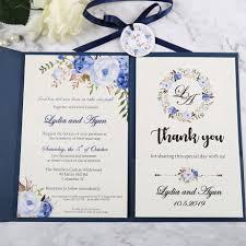 Design Own Party Invitations 9729941 Us 60 0 50pcs Wedding Invitations Blue Pocket