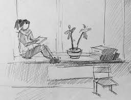 window pencil drawing. girl on window, sketch of pencil \u2014 stock photo #72892015 window drawing