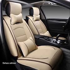 china deluxe pu leather car seat cover set cushion headrest universal 5 seat covers protector seat automotive accessories interior china car seat cover