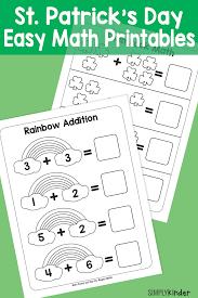 Simple St. Patricks Day Math Printables - Simply Kinder