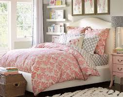 Light and airy bedroom with vibrant tone. Grey, pink, white color scheme and