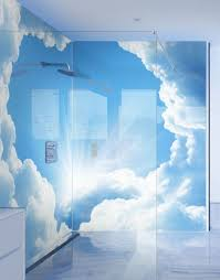 celestial clouds printed shower panels