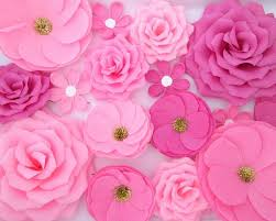 Pink Paper Flower Decorations 16 Paper Flowers Wall Flowers Arch Flowers Wedding