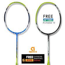 Apacs Virtuoso Light Badminton Racket Amazon Com Apacs Virtuoso Light Free Arcsaber Light 5i