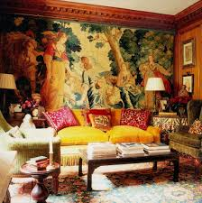 Tapestry Sofa Living Room Furniture Living Room With Yellow Sofa And Large Tapestry Wall Decor