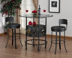 Modern Bar Table Sets With Rounded Table Made Of Black Metal And