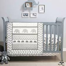 elephant walk 4 piece jungle geometric chevron grey baby crib bedding set from belle