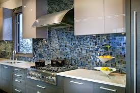 mosaic tile kitchen backsplash in blue