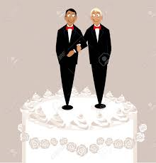 Wedding Cake Toppers A Happy Gay Couple Royalty Free Cliparts