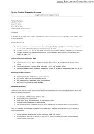 Quality Control Resume Quality Assurance Inspector Resume