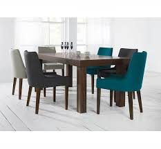 alex teal upholstered dining chair with walnut legs 31610