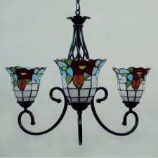 fl tiffany style 3 light inverted chandelier with handmade glass shade