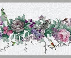 Floral Pink, Purple Flowers, Birds Wall ...