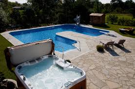 inground pools with waterfalls and hot tubs. In Ground U-Shaped Pool With Diving Board And Slide Inground Pools Waterfalls Hot Tubs