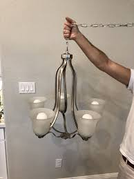 hampton bay hastings 5 light brushed steel chandelier with white glass shades for in dallas tx offerup