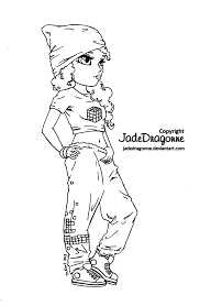 Hip Hop Dancer Lineart By Jadedragonnedeviantartcom On