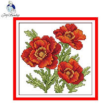 Free Printable Counted Cross Stitch Charts Amazon Com Zamtac Floral Style The Flower Of Happiness