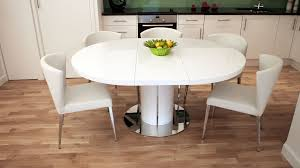 Round White Gloss Extending Dining Table Pedestal Polished Steel pertaining  to White Extending Dining Table And Chairs
