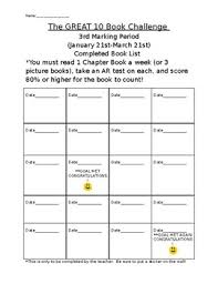 Book Challenge Chart By Elementary Reading Resource Tpt