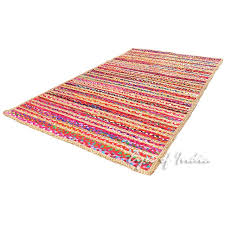 colorful striped woven jute chindi braided area decorative rag rug 3 x 5 ft 3