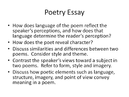 response essays prose passage generally one page excerpt from a  5 poetry