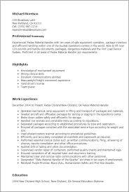 Resume Templates: Fedex Material Handler