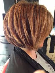 stacked bob haircut with blonde highlights