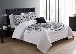bedding full queen quilt set boho chic design lighweight luxurious microfiber in black
