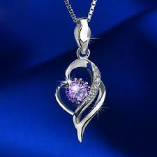 noble hollow diamond heart shaped pendant 925 silver necklace