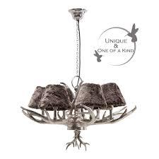 huntsman silver antler chandelier
