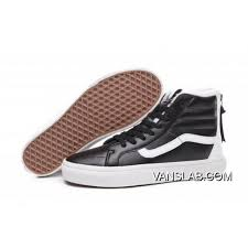 vans 2 tone check plus velvet premium leather sk8 hi classics zip slim black