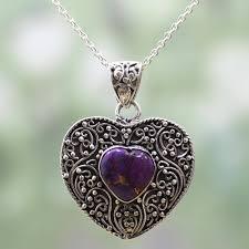 silver purple composite turquoise pendant necklace purple heart attunement