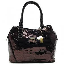 Coach Poppy In SequIn Signature Medium Coffee Totes AEB