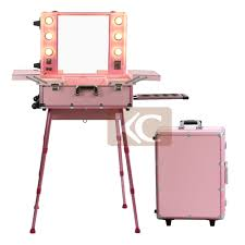 Beauty Station With Lights Professional Mini Aluminum Cosmetic Working Station Mobile Station With Multi Functional Compartment Hair Station Portable Case View Hair Station