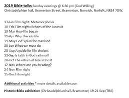 Christadelphian Reading Chart Talks Bramerton Christadelphians