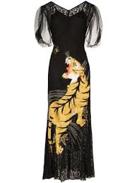 One Vintage <b>lace embroidered</b>-tiger gown $2,942 - Buy Online ...